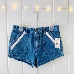 Free People Crochet Inset Lewis Denim Shorts